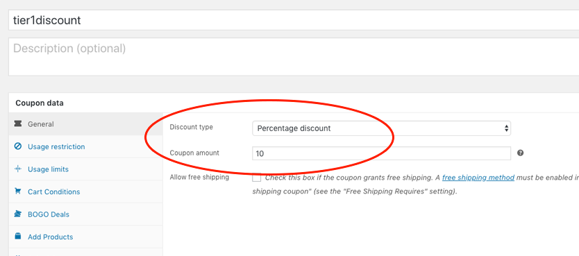 Tiered Discount WooCommerce Coupon Tier 1 Example