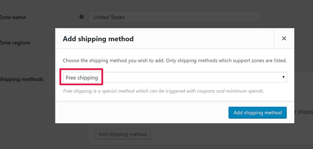 WooCommerce Free Shipping Coupon Choose free shipping