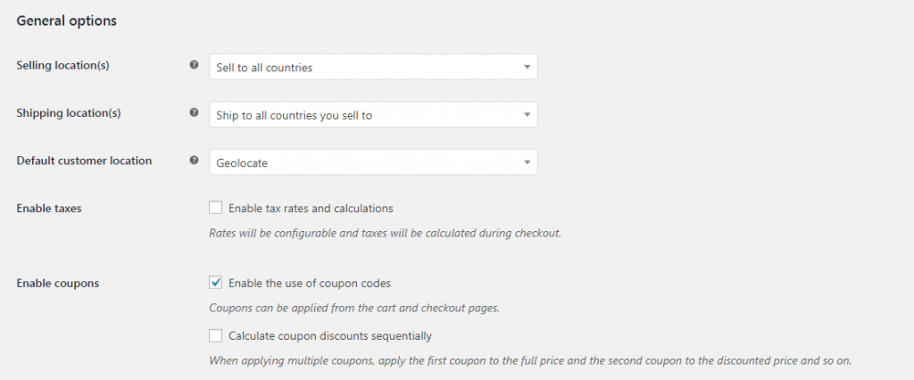 Enabling coupons in WooCommerce.