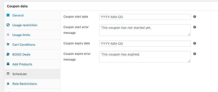 Set Start and Expiry Date for WooCommerce Coupons