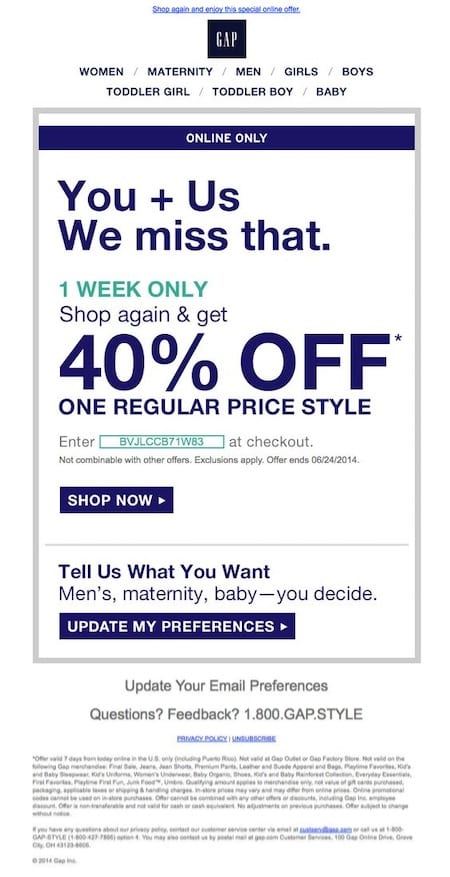 The Gap runs a reactivation campaign with a steep discount