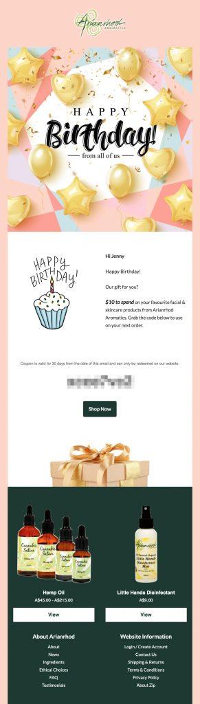 Birthday gift coupon