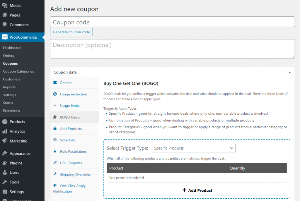 Creating a BOGO coupon in WooCommerce.