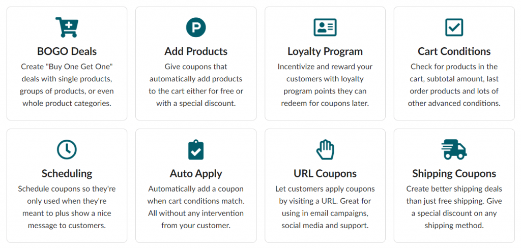 The Advanced Coupons plugin features.