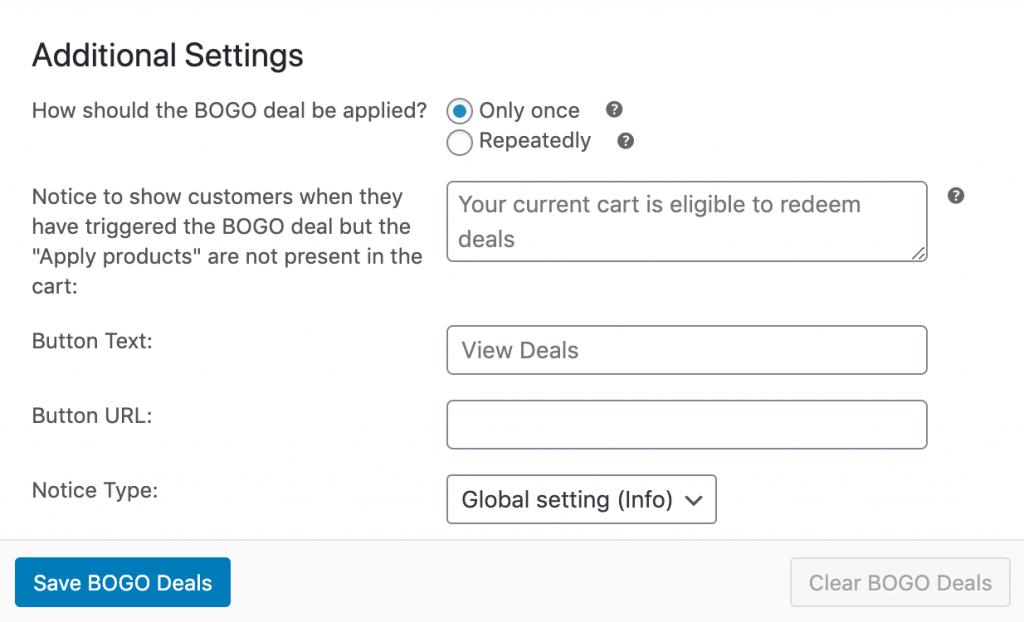 Configuring additional BOGO deal settings in Advanced Coupons.