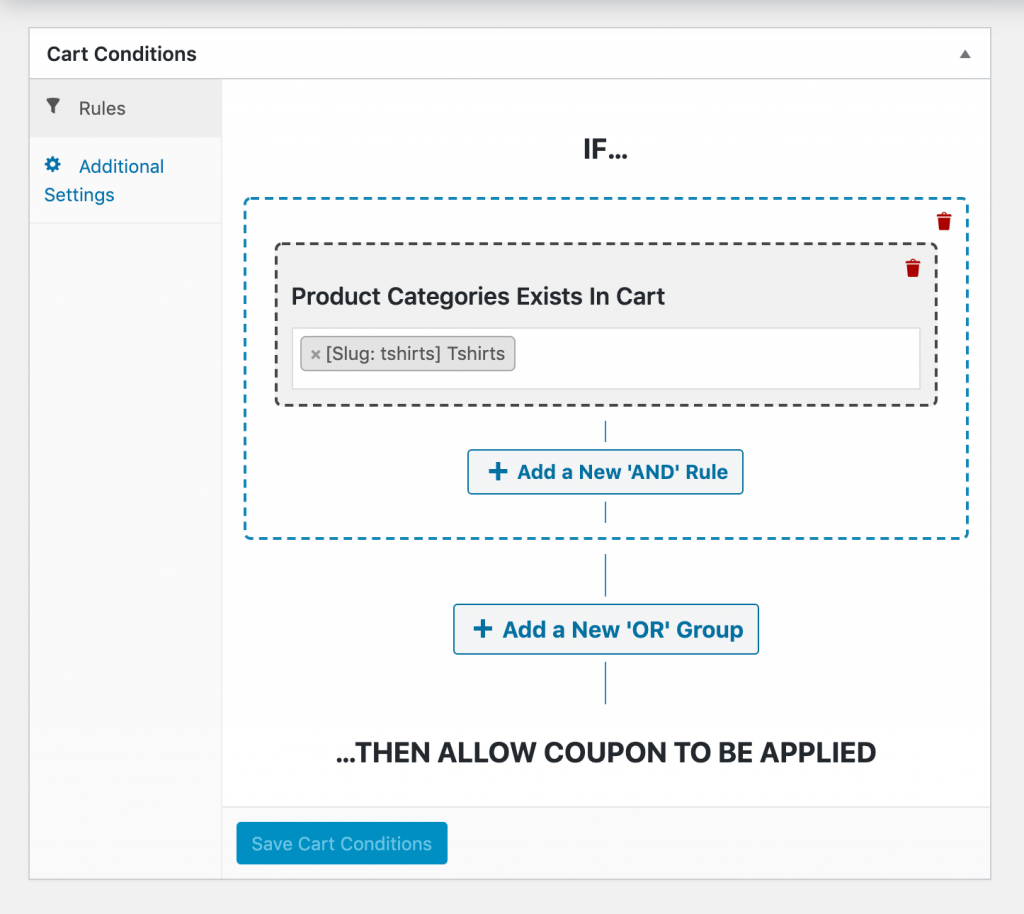 Setting the category-specific BOGO cart conditions.