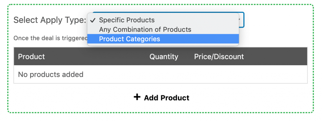 Selecting the product categories discount type.