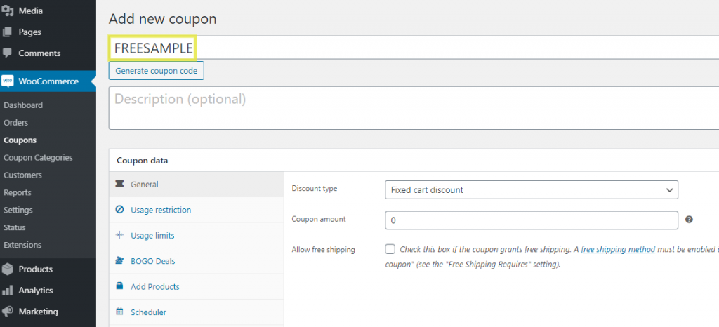 The screen to add a new coupon to give sample products for free in WooCommerce.