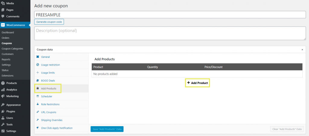 The 'Add Products' feature in the Advanced Coupons plugin for WooCommerce.