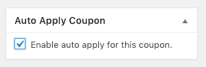 Enable auto apply in the sidebar for the coupon