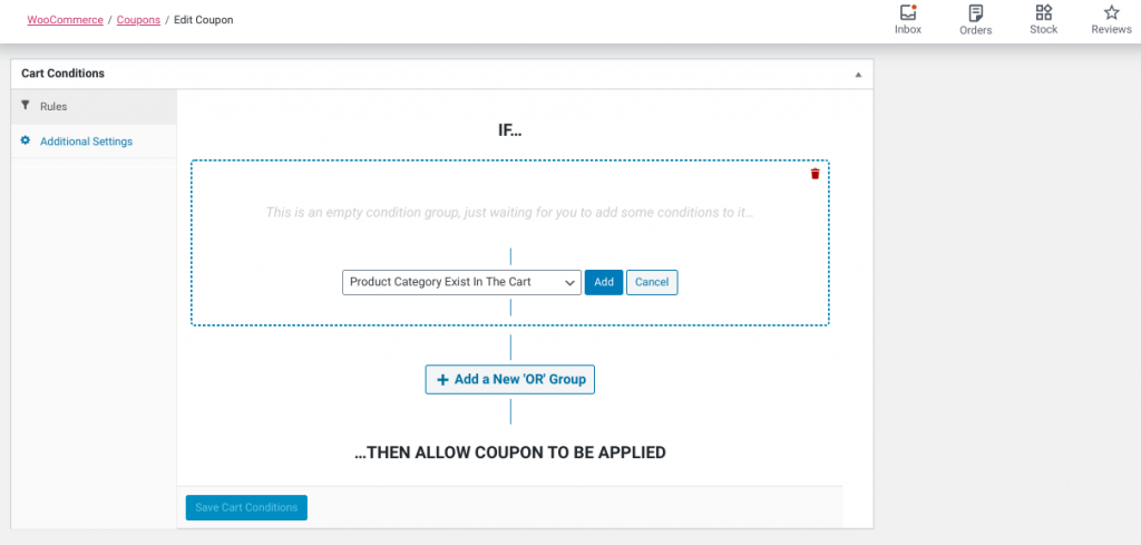The 'Cart Conditions' section in the Advanced Coupons plugin.