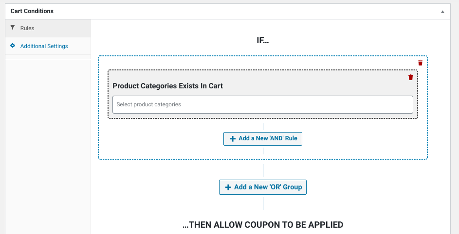 The 'Product Categories Exists in Cart' rule in Advanced Coupons Cart Conditions.