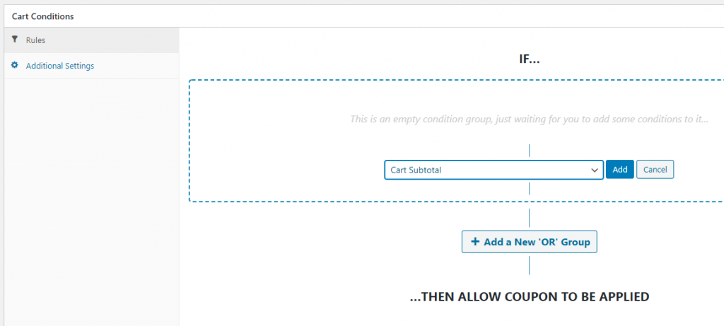 Configuring WooCommerce cart conditions.