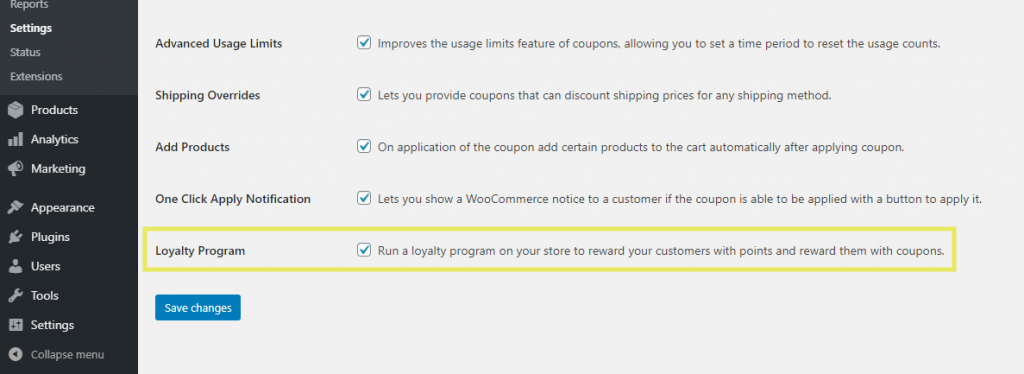 The setting to enable the Loyalty Program feature in the Advanced Coupons plugin.