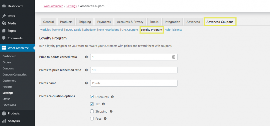 The Loyalty Program feature settings in Advanced Coupons.