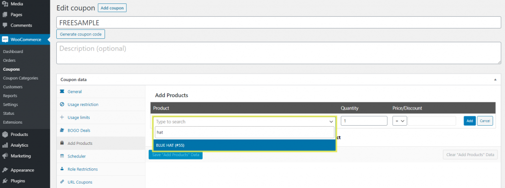 The 'Add Products' section in Advanced Coupons plugin.