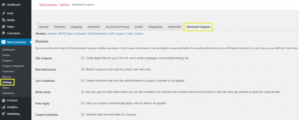 The Advanced Coupons tab in the WooCommerce settings.