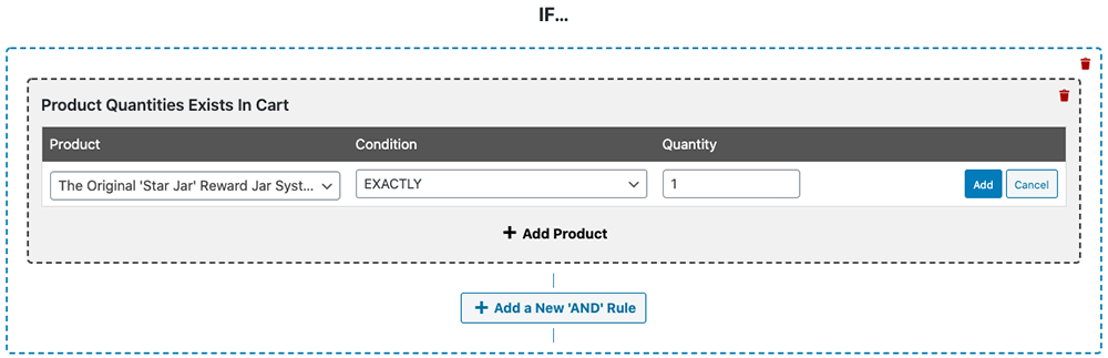 Check if a specific product is in the cart following certain quantity rules