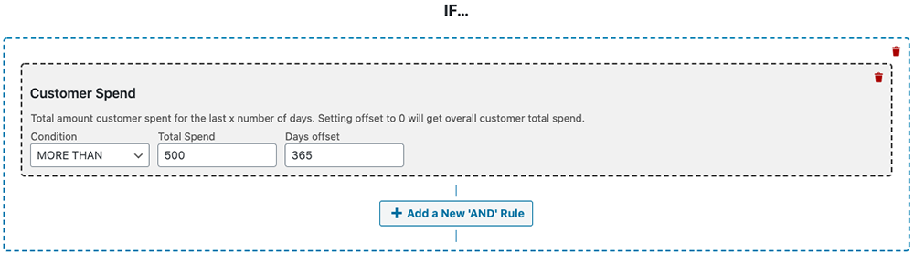 Test customer's total spend with your store for all time or over a specific period