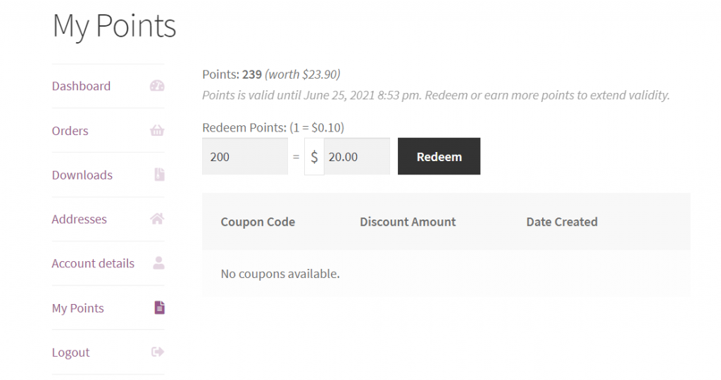 The 'My Points' page in WooCommerce where customers can redeem their points with a coupon.