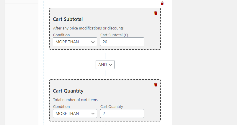 Creating a coupon for customers that buy more than two items.