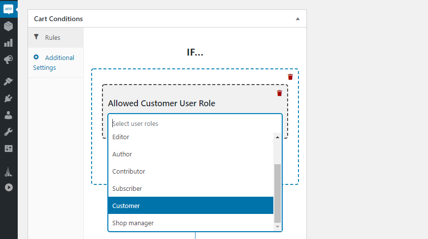 Setting customer role conditions.