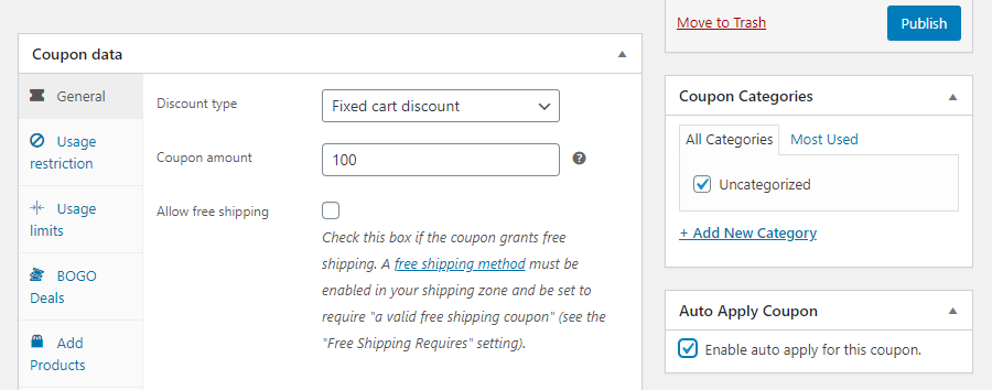 Choose what type of coupon to offer.