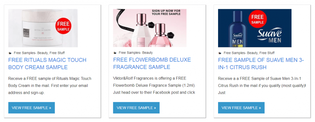 An example of free samples offers.