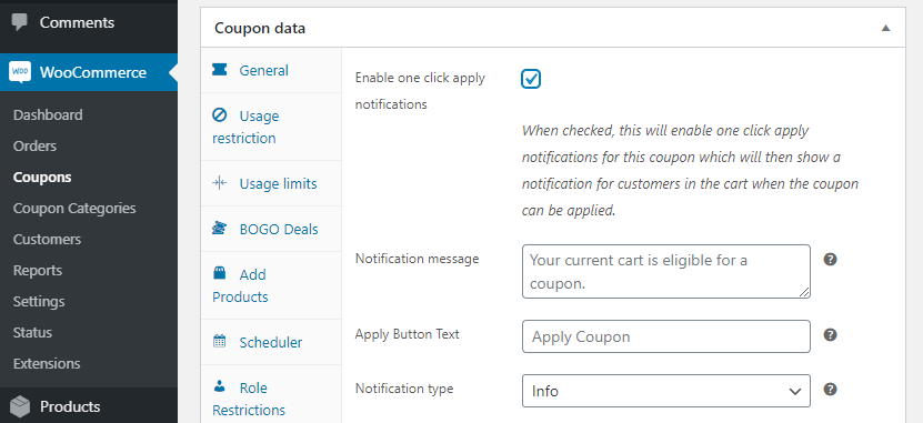 Enabling the one-click apply setting.