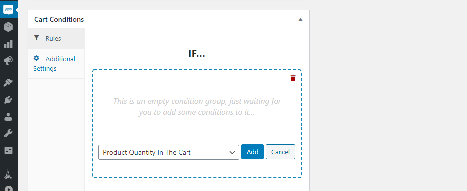 Configuring product quantity conditions for your coupon.