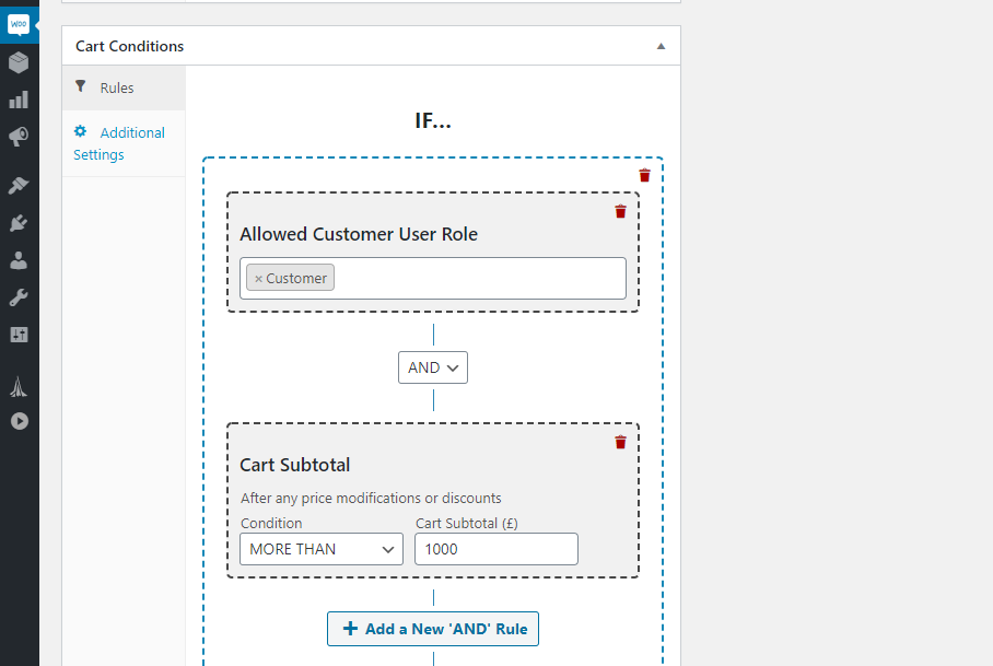 Setting purchase value conditions.