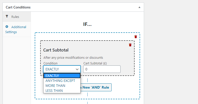 Adding cart subtotal coupon conditions.